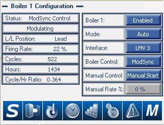 ModSync Boiler Configuration Screen