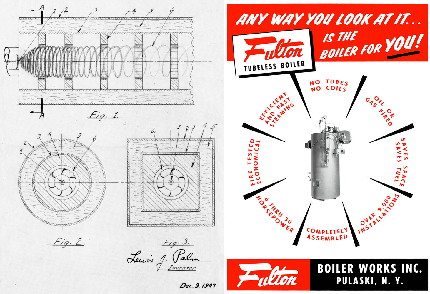 Design drawings for the first Fulton Products and a vintage advertisement for Fulton's premiere product line