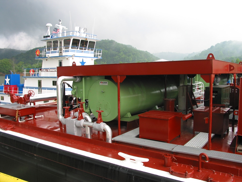 A Fulton Volcanic unit installed on a barge