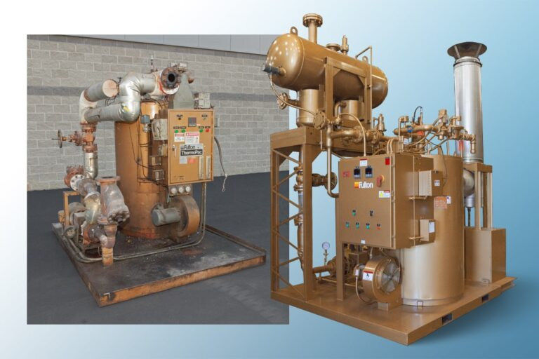 Two Fulton boiler systems shown before and after service upgrades